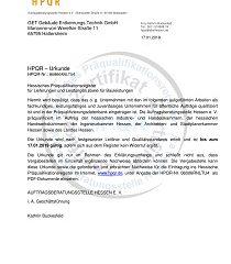 HPQR-Urkunde